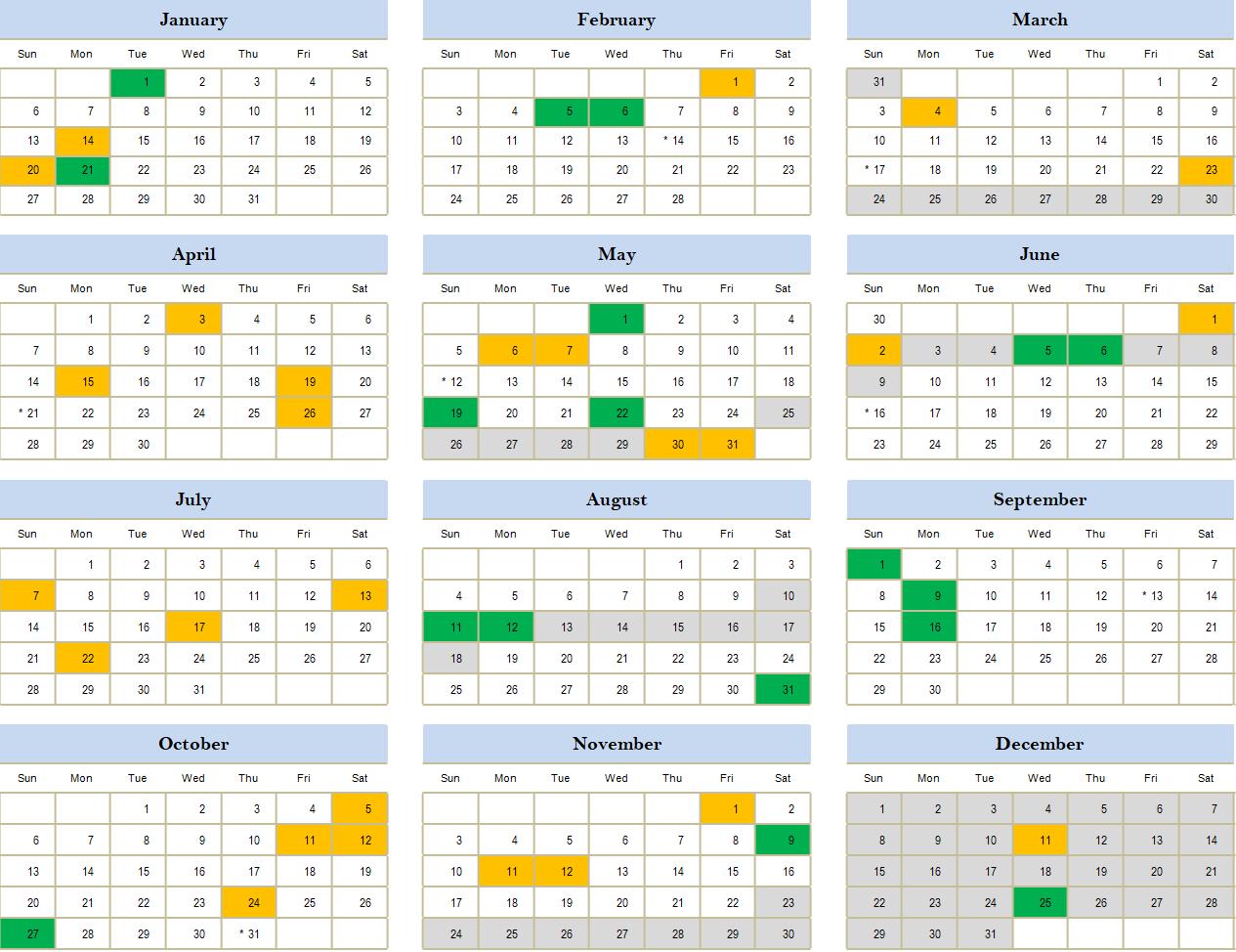 2019 Holidays Calendar