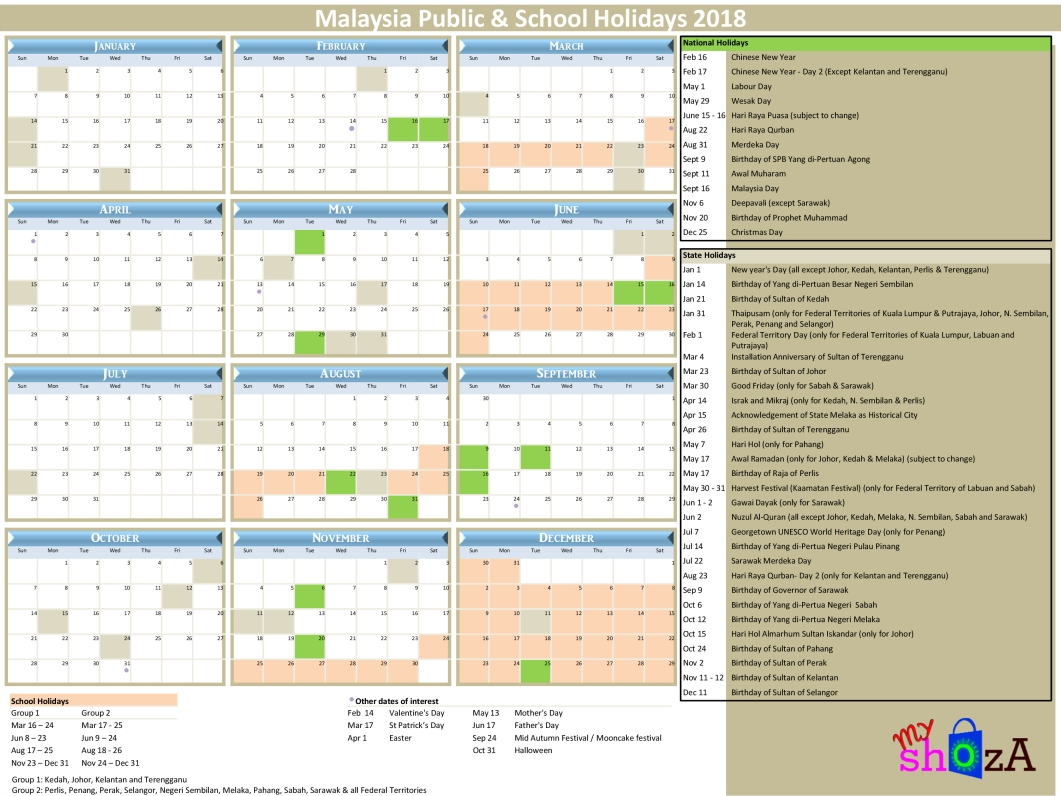 2018 Malaysia Public Holidays Planner
